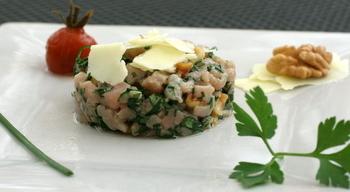 Tartare de veau au bleu de termignon snacking chic et pas for Entree froide chic
